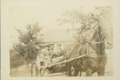 Anna Mary, Eloise, and a Boy in a Horse-Drawn Cart